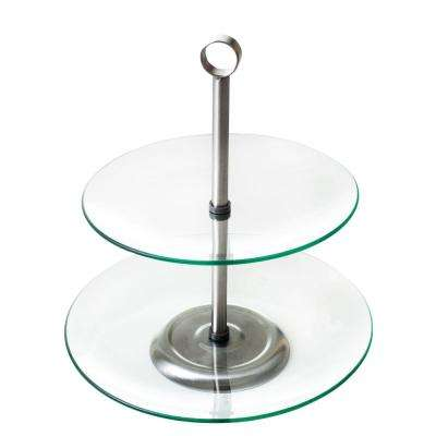 2-Tier Round Glass Buffet and Dessert Stand