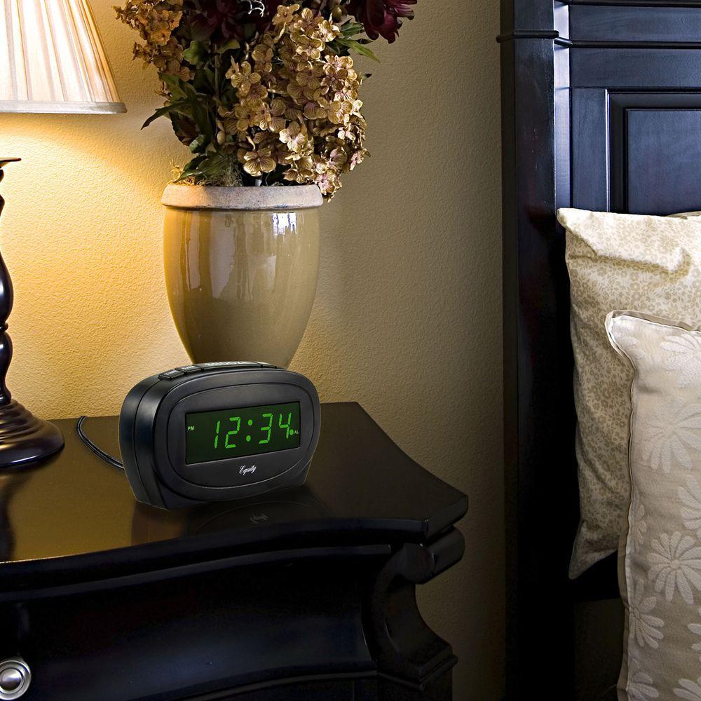 Digital 0.60 in. Green LED Electric Alarm Table Clock, Black