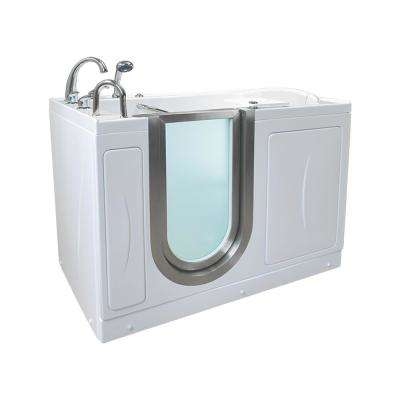 Elite Acrylic 52 in. MicroBubble Walk-In Air Bath Tub in White with Heated Seat and LHS 2 in. Dual Drain