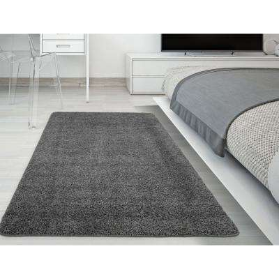 Luxury Shaggy Collection Shag Solid Design Gray 3 ft. x 5 ft. Area Rug