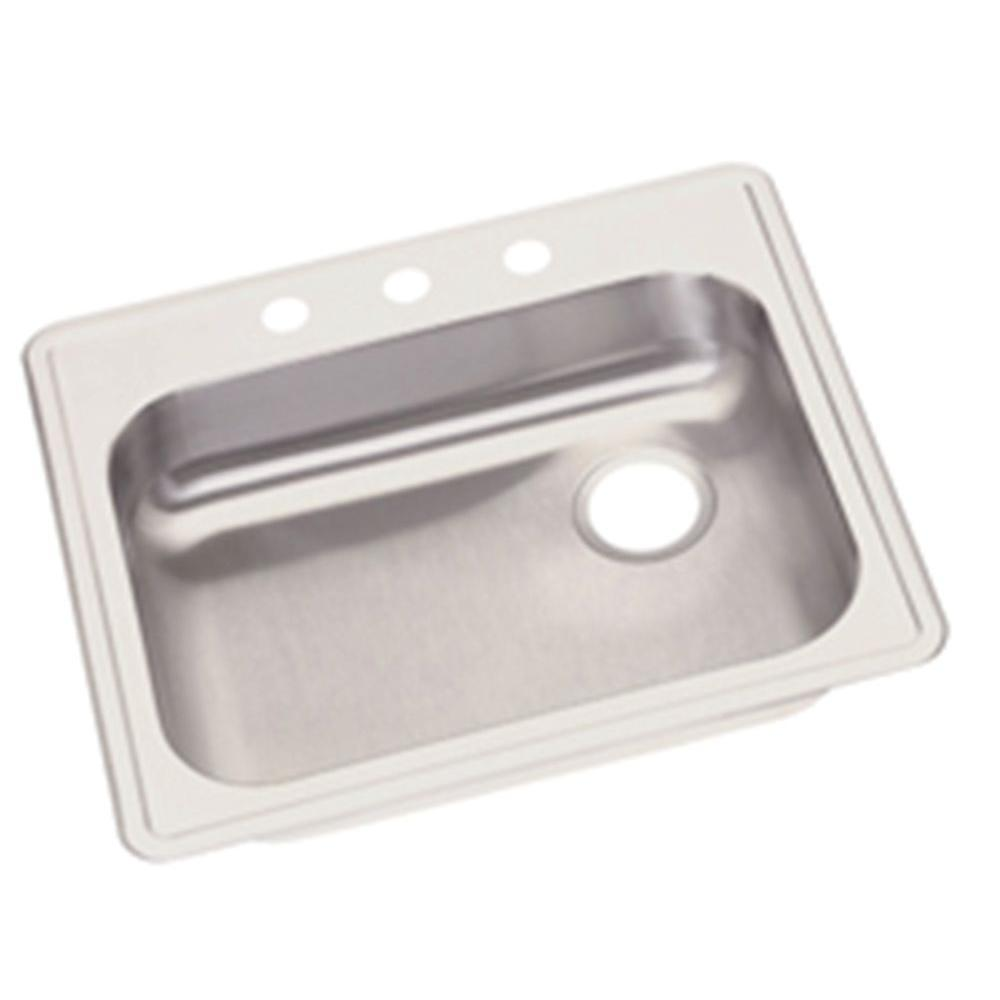 Elkay Dayton Drop-In Stainless Steel 25 in. 3-Hole Single Bowl Kitchen Sink  with Right Drain
