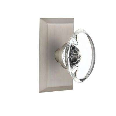 Studio Plate 2-3/8 in. Backset Satin Nickel Privacy Oval Clear Crystal Glass Door Knob