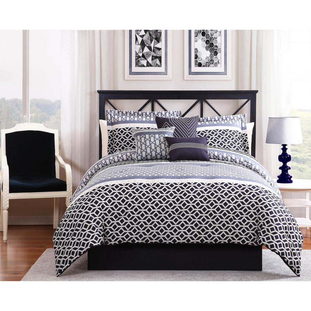 Madison Black Grey 7 Piece King Comforter Set