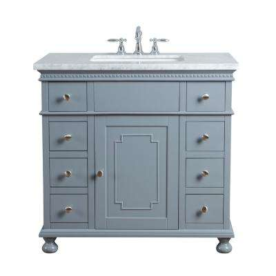 36 in. Abigail Embellished Single Sink Vanity in Grey with Marble Vanity Top in Carrara with White Basin