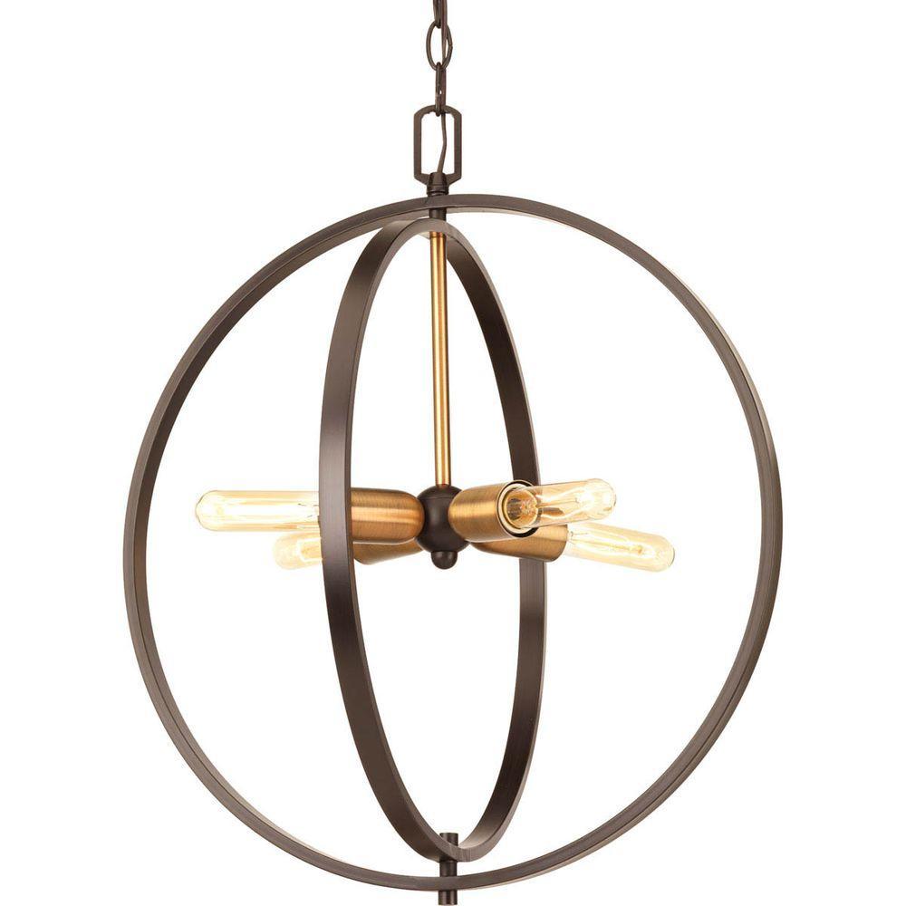 Progress Lighting Swing 4-Light Antique Bronze Foyer Pendant