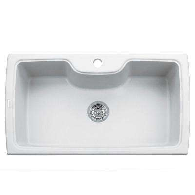 Harmony Series 33 in. Drop-In Version Granite 1-Hole Double Basin Kitchen Sink in Milk White