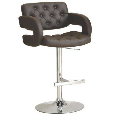 Rec Room Adjustable Height Brown Faux Leather Bar Stool with C-Shaped Arms