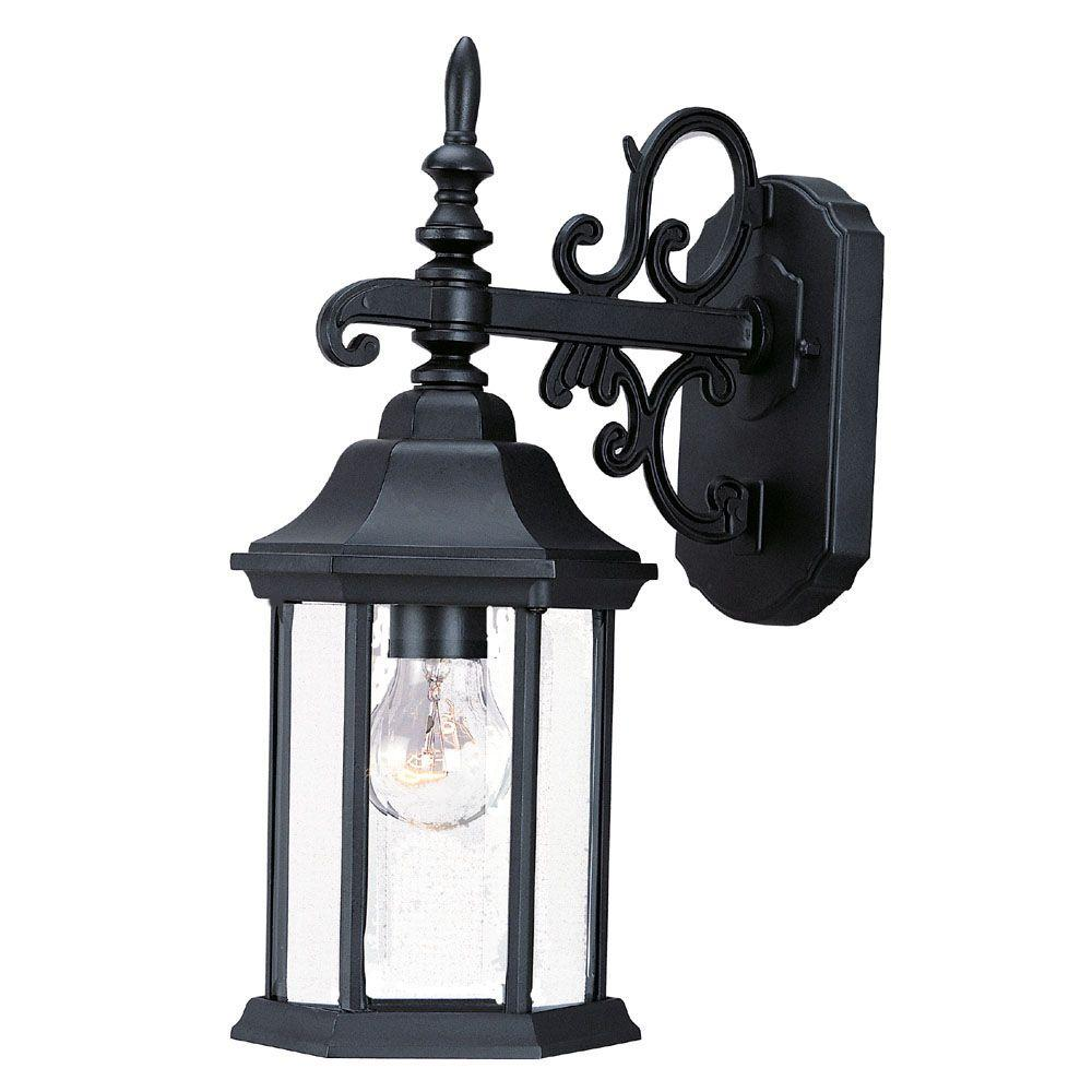 Madison Collection 1-Light Matte Black Outdoor Wall Lantern Sconce