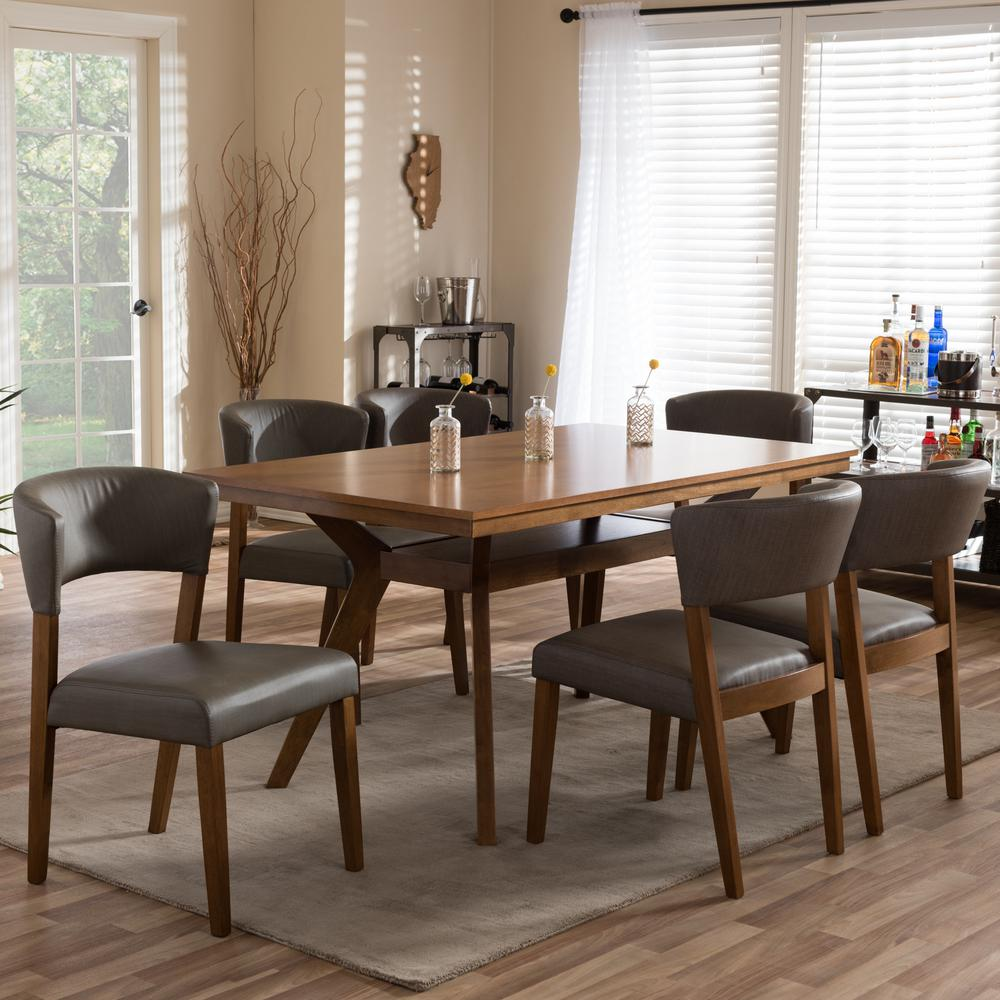 Leather Dining Set: Baxton Studio Montreal 7-Piece Gray Faux Leather