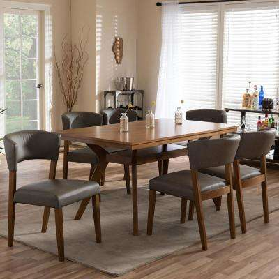 Montreal 7 Piece Gray Faux Leather Upholstered Dining Set