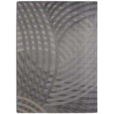 Linear Contemporary Modern Grey 7 ft. 6 in. x 9 ft. 6 in.  Area Rug