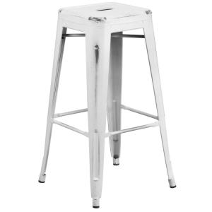 30 In Distressed White Bar Stool