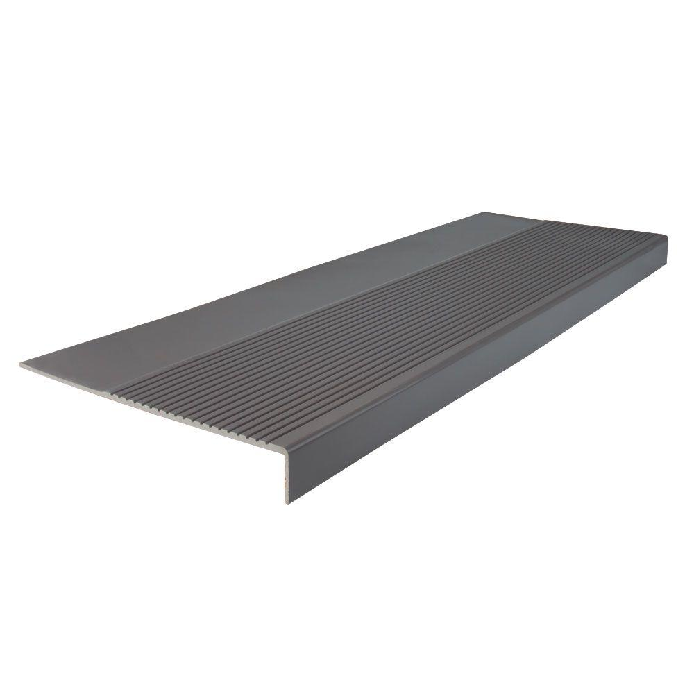 ROPPE Ribbed Profile Charcoal 12-1/4 in. x 48 in. Square Nose Stair Tread