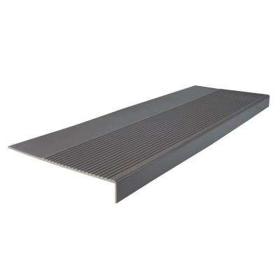 Ribbed Profile Charcoal 12-1/4 in. x 48 in. Square Nose Stair Tread
