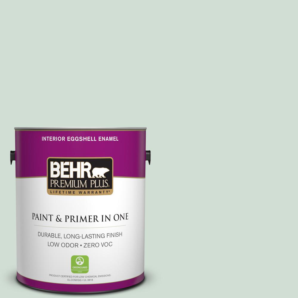 BEHR Premium Plus 1-gal. #ECC-65-1 Aruba Aqua Zero VOC Eggshell Enamel Interior Paint