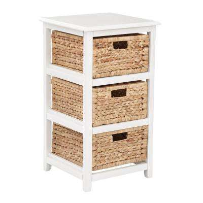 Seabrook White 3-Tier Storage Unit with Natural Baskets