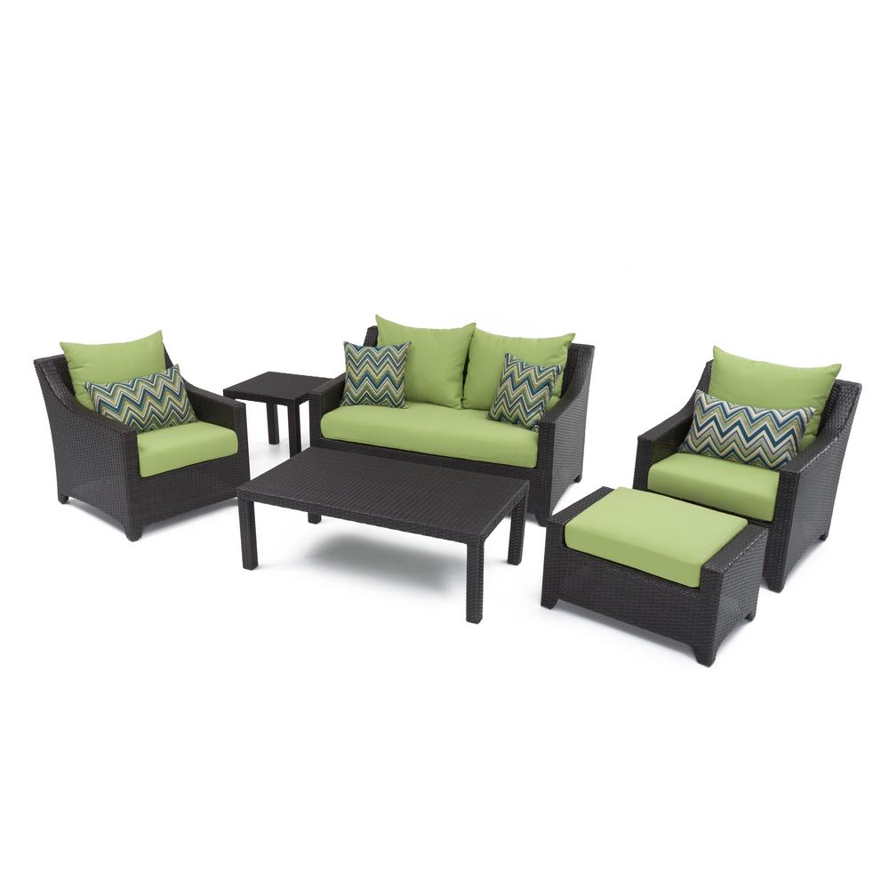 Deco 6 piece patio seating set with ginkgo green cushions