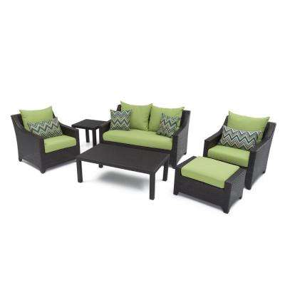 Deco 6-Piece Patio Seating Set with Ginkgo Green Cushions