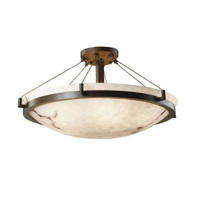 LumenAria Ring 27 in. 6-Light Dark Bronze Semi-Flush Mount with Faux Alabaster Shade