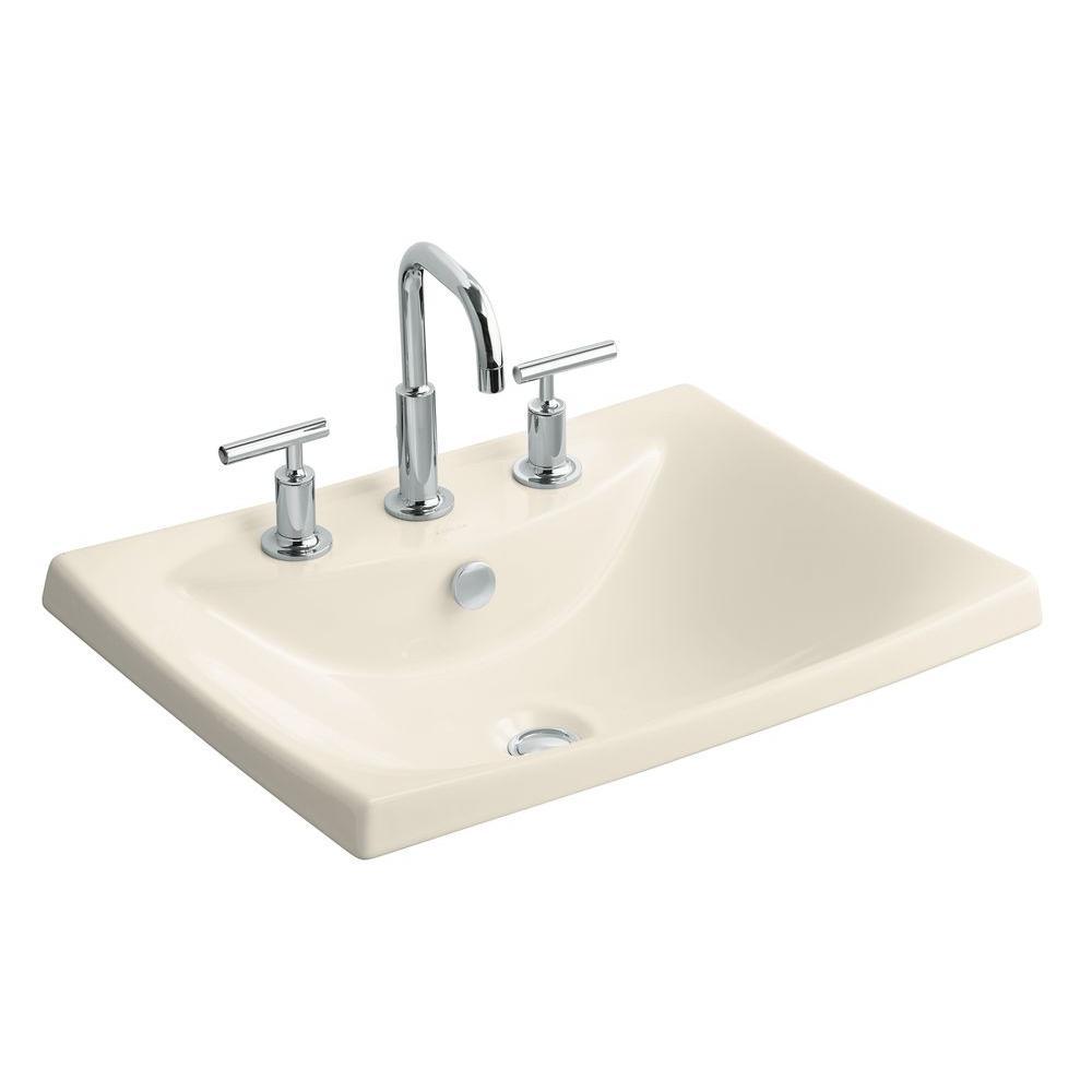 Escale Drop-In Fireclay Bathroom Sink in Almond with Overflow Drain