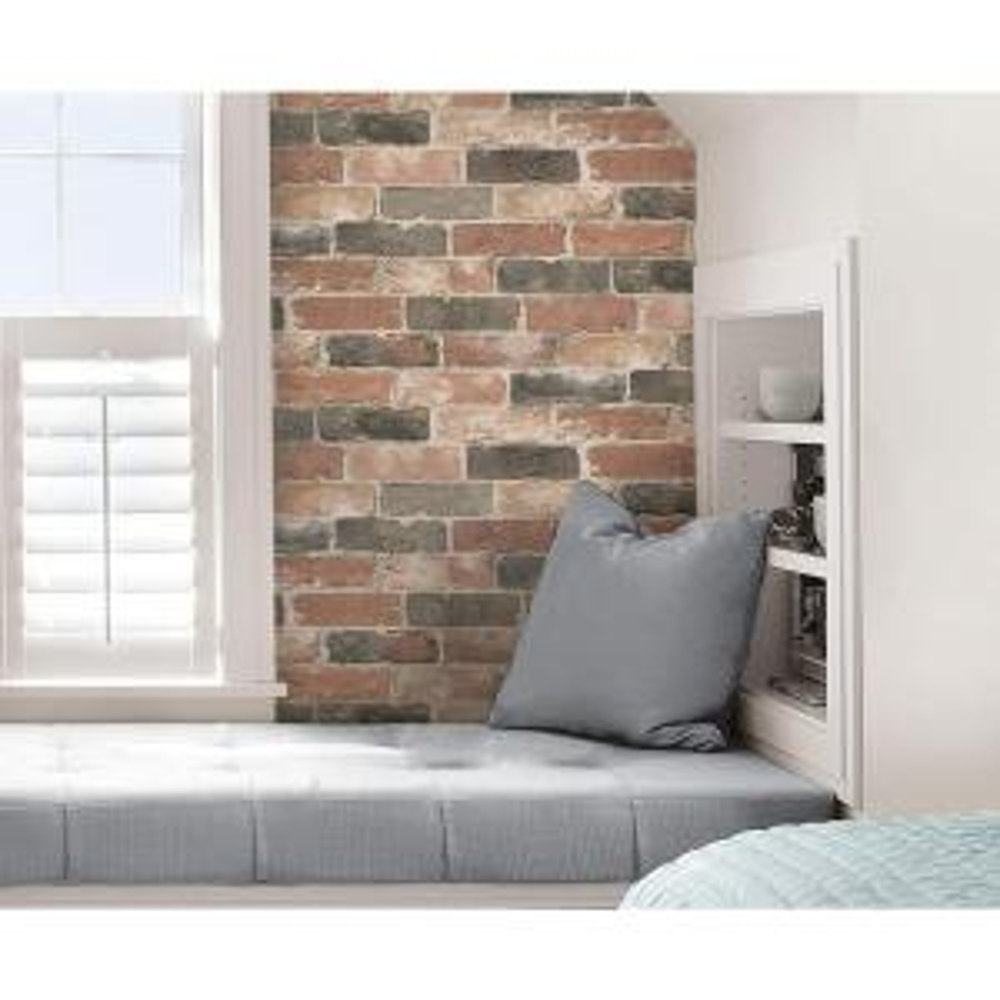 Nuwallpaper Red Newport Reclaimed Brick Peel And Stick Wallpaper