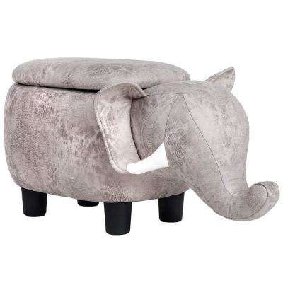 Animal-like Gray Storage Ottoman