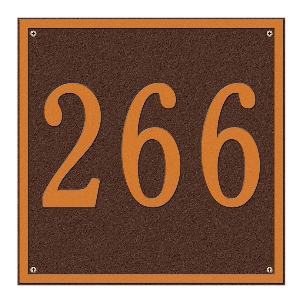Square Estate Wall 1-Line Address Plaque - Antique Copper