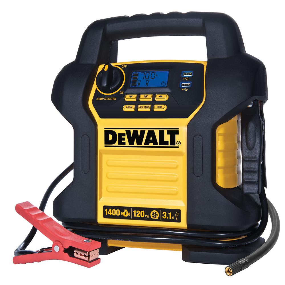 Dewalt 1400 Peak Amp Jump Starter With Digital Compressor
