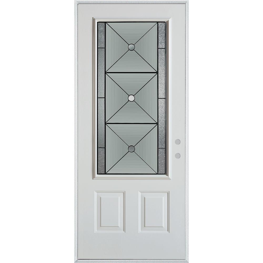 32 in. x 80 in. Bellochio Patina 3/4 Lite 2-Panel Painted White Steel Prehung Front Door
