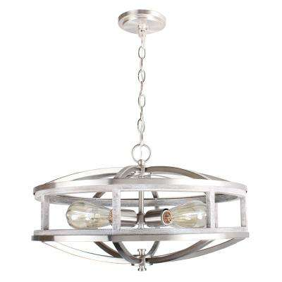 Westbury 4-Light Brushed Nickel with Grey Wood Round Pendant