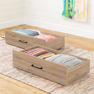 Fakto Rustic Oak Drawers on Wheels (Set of 2)