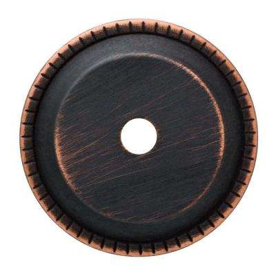 1-1/4 in. Venetian Bronze with Copper Highlights Ribbed Edge Cabinet Knob Backplate