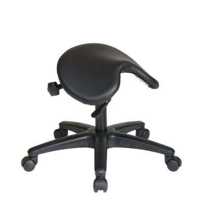 Backless Drafting Stool with Black Saddle Seat
