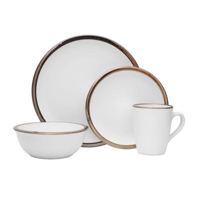 16-Piece Dylann White Stoneware Dinnerware Set (Service for 4)
