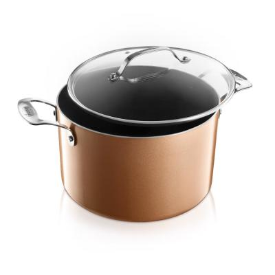 7 Qt. Aluminum Cast Textured Coating Non-Stick Stock Pot with Glass Lid