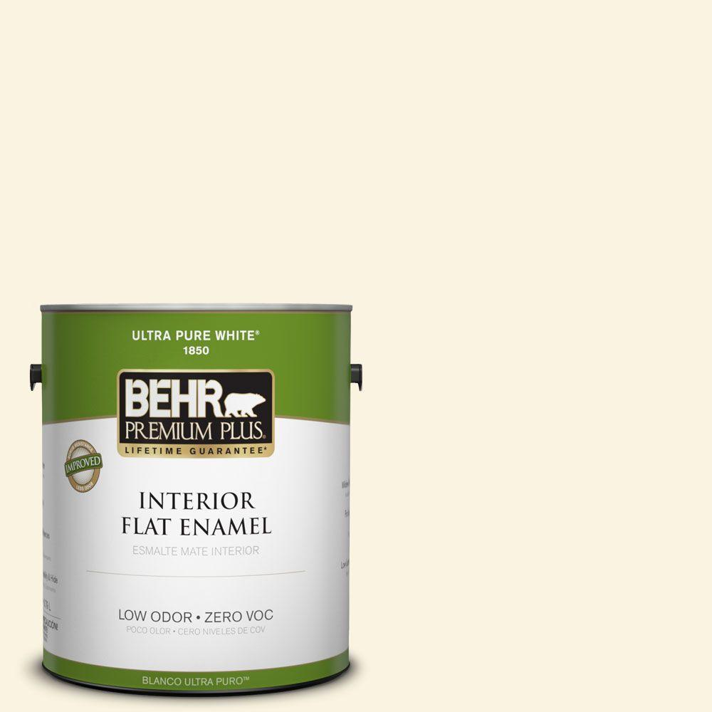 BEHR Premium Plus 1-gal. #W-D-210 Camembert Zero VOC Flat Enamel Interior Paint-DISCONTINUED