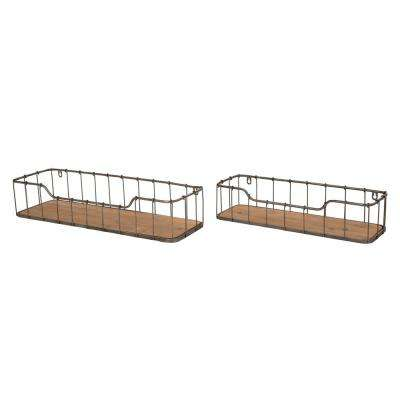 4.92 in. Wooden/Iron Industrial Wall Shelf (Set of 2)