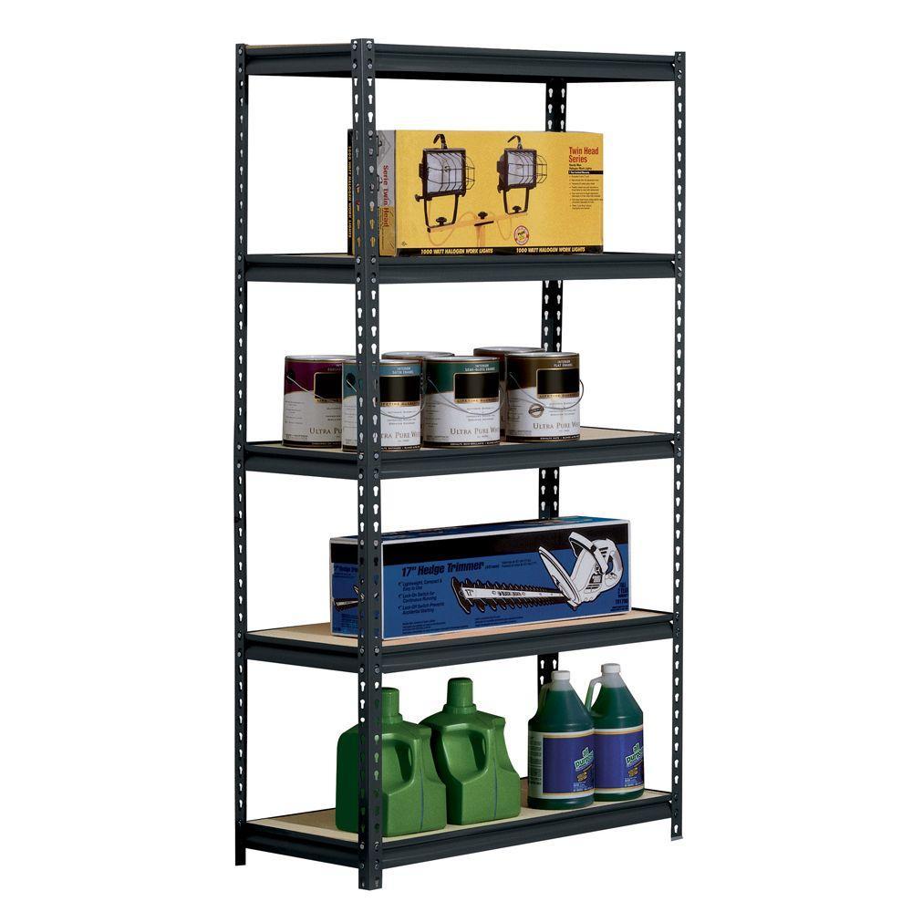 Edsal 72 In H X 48 In W X 18 In D 5 Shelf Steel Shelving Unit In Black Ur1848p Blk The Home Depot