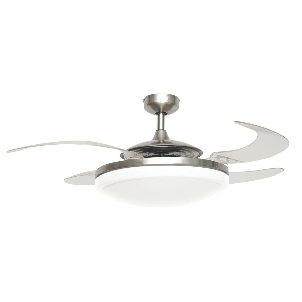 Fanaway Fanaway Evo2 Brushed Chrome Retractable 4-blade 48 in. Lighting with Remote Ceiling Fan