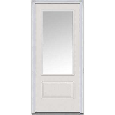 36 in. x 80 in. Left-Hand Inswing 3/4-Lite Clear 1-Panel Classic Primed Fiberglass Smooth Prehung Front Door