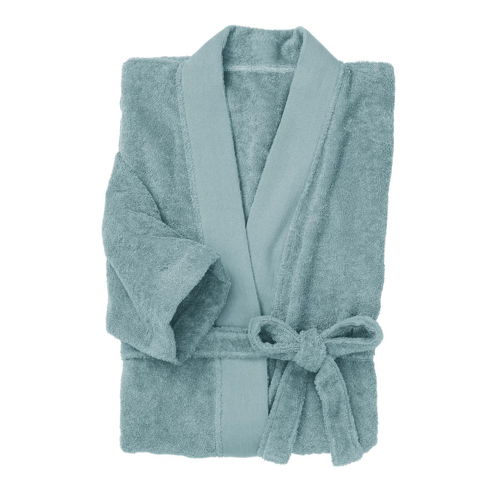e615f7282e The Company Store Organic Terry Cotton Small Medium Spa Blue Bath Robe