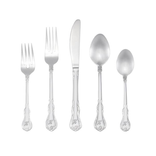RiverRidge Home Bouquet Monogrammed Letter H 46-Piece Silver Stainless Steel