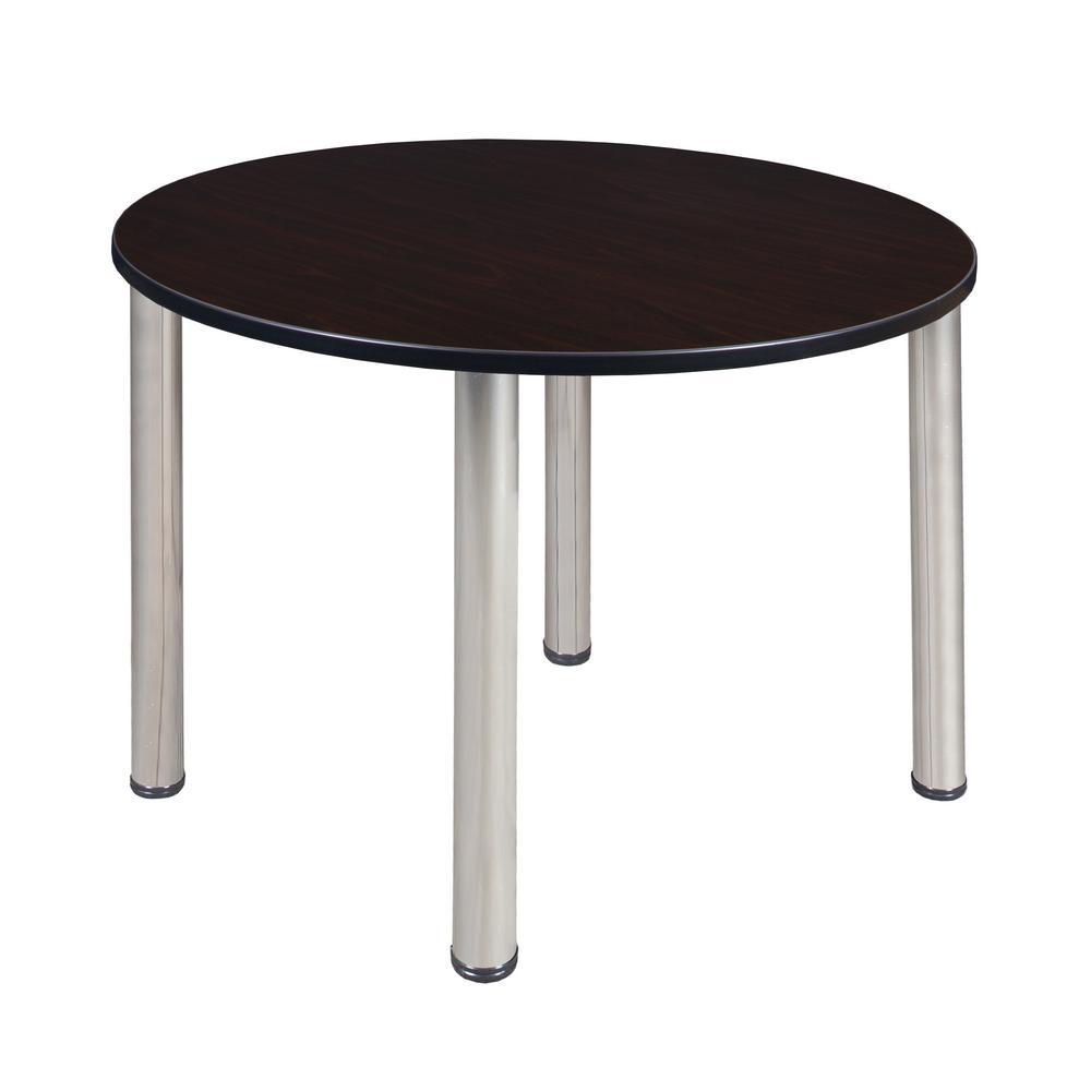 Kee Mocha Walnut/Chrome 48 in. Round Breakroom Table