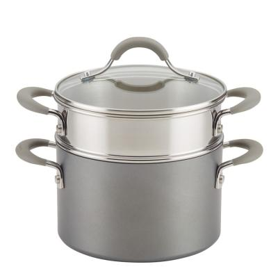 3 Qt. Oyster Gray Elementum Hard-Anodized Nonstick Covered Multipot with Steamer Insert