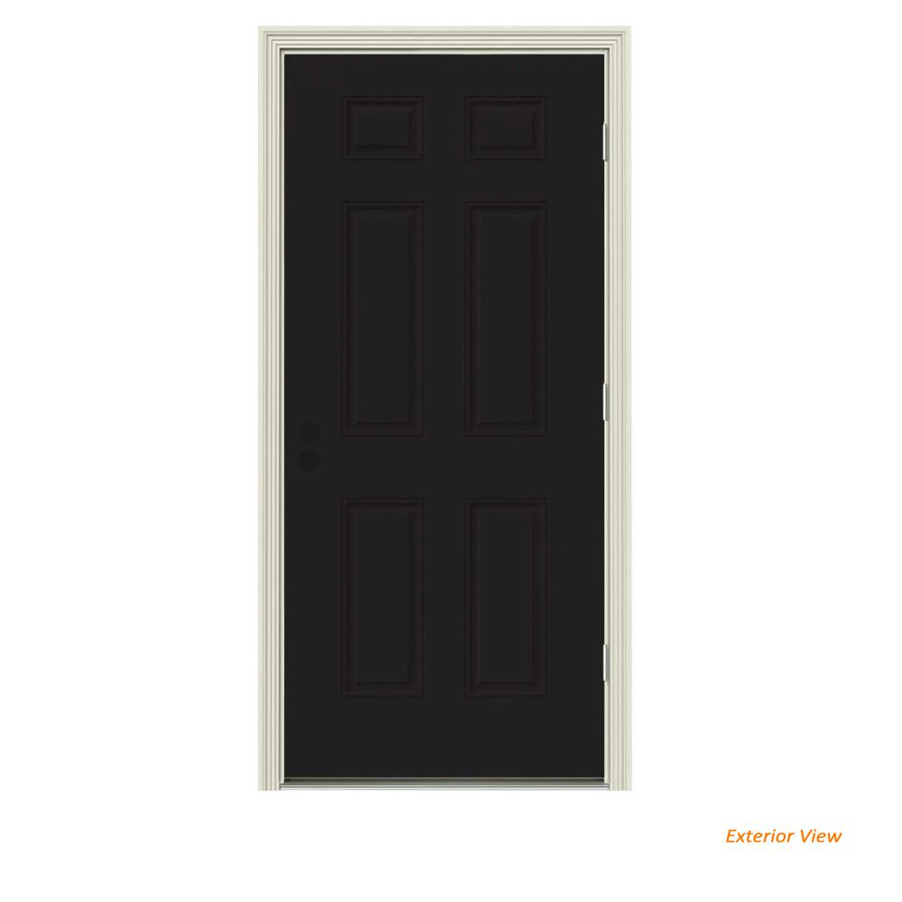 34 in. x 80 in. 6-Panel Black Painted Left-Hand Outswing Steel