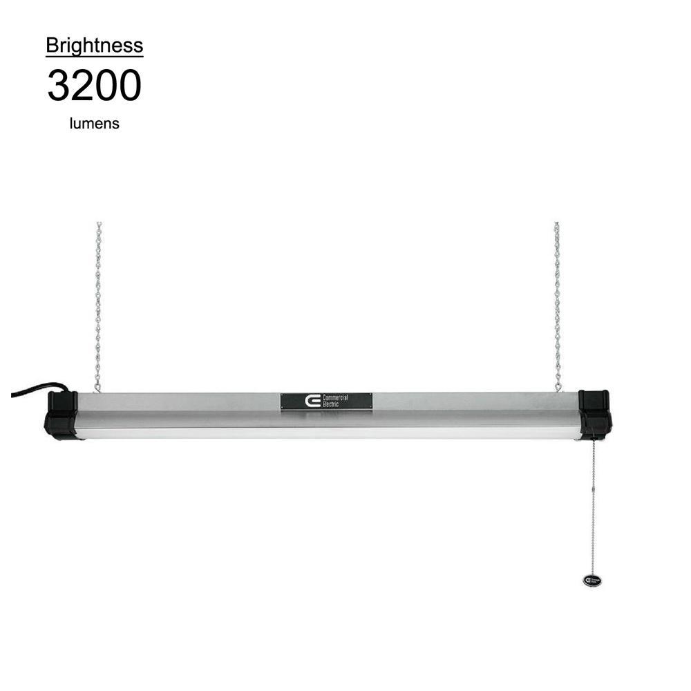 3 ft. Brushed Nickel Bright  Light White Integrated LED Shop Light