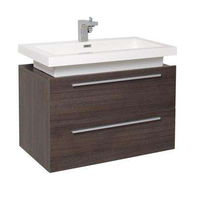 Medio 32 in. Bath Vanity in Gray Oak with Acrylic Vanity Top in White with White Basin