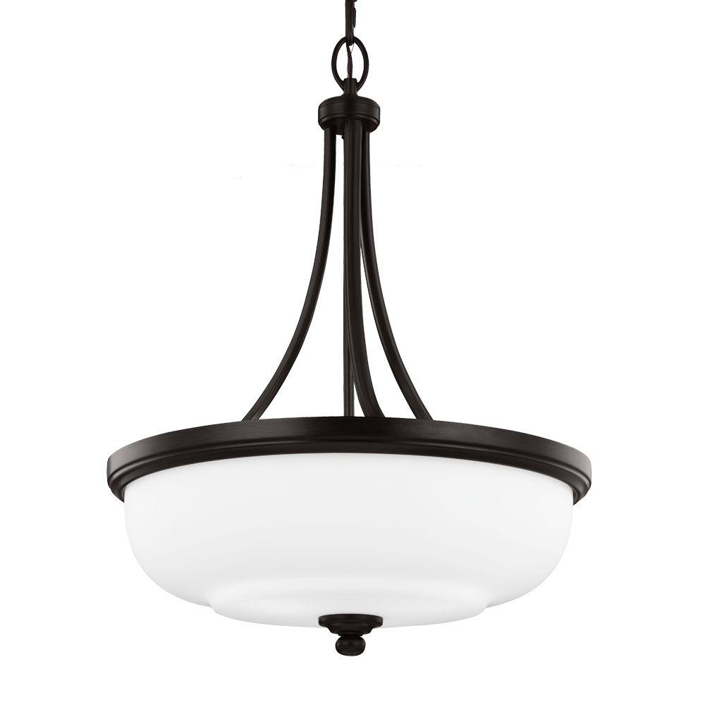Sea Gull Lighting Vintner 20.125 in. 3-Light Heritage Bronze Uplight Pendant with Opal Etched Glass Shade was $188.76 now $99.0 (48.0% off)