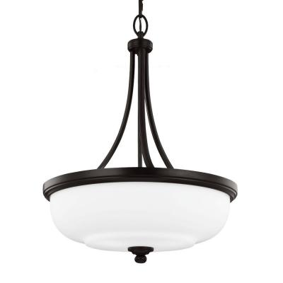 Vintner 20.125 in. 3-Light Heritage Bronze Uplight Pendant with Opal Etched Glass Shade