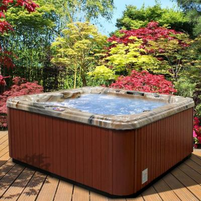 7-Person 30-Jet Premium Acrylic Bench Spa Hot Tub with Backlit LED Waterfall